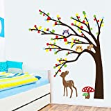 Colorful Leaves Tree Owls Deer Mushrooms Wall Decal Home Sticker Paper Removable Living Dinning Room Bedroom Kitchen Art Picture Murals DIY Stick Girls Boys kids Nursery Baby Playroom Decoration