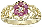 18k Yellow Gold-Plated Sterling Silver Ruby Flower Ring, Size 7