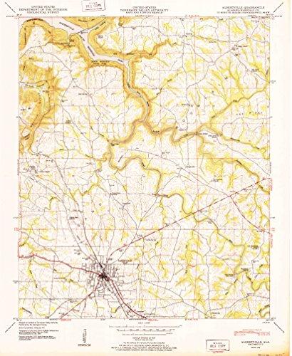 Albertville AL topo map, 1:24000 scale, 7.5 X 7.5 Minute, Historical, 1950, 26.8 x 22 IN - - Albertville Map