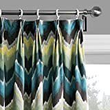 """25 Sizes Available (Set of 1 panel) (42""""W x 102""""L) Double Pleated Top Contemporary Print Abstract Ink Painting Style Chevron Blackout Lining Window Treatment Draperies & Curtains Panels"""