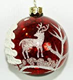 "4"" Christmas Red Ball Ornaments with White Hand-Painted Christmas Tree and Reindeer BOXED SET OF 4!"