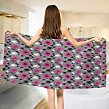 Chaneyhouse Vintage Floral,Bath Towel,Vibrant Colored Free Hand Drawing Style Blossoms Antique Retro,Bathroom Towels,Hot Pink Black Grey Size: W 31.5'' x L 63''