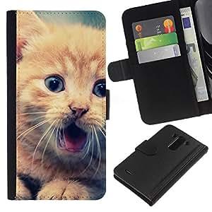YiPhone /// Tirón de la caja Cartera de cuero con ranuras para tarjetas - Lindo Gatito anaranjado - LG G3