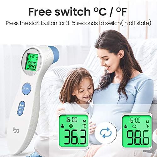 TOUCHLESS FOREHEAD THERMOMETER FOR ADULTS, KIDS AND BABIES, DIGITAL INFRARED NON CONTACT THERMOMETER WITH FEVER INDICATOR, 1S INSTANT ACCURATE READING BY FEMOMETER