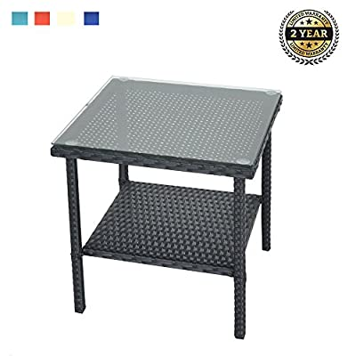 LEAPTIME Outdoor Indoor Square Patio Rattan Wicker Side Tea Coffee Table with Tempered Glass Top, Black