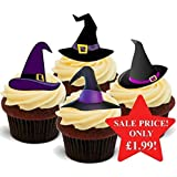 Halloween Witches Hat Purple Mix - Fun Novelty PREMIUM STAND UP Edible Wafer Paper Cake Toppers Decoration