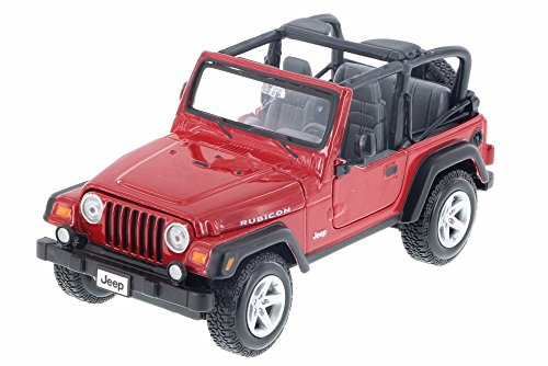 Jeep Wrangler Rubicon Top Down Convertible, Red - Maisto 34245D - 1/24 Scale Diecast Model Toy Car (Brand New but NO BOX)