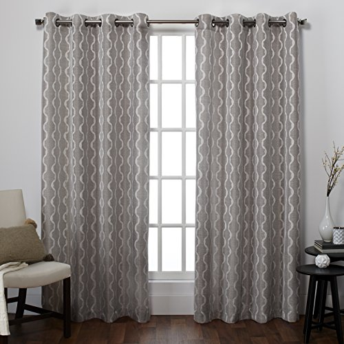 Exclusive Home EH8050-04 2-108G Baroque Textured Linen Look Jacquard Grommet Top Window Curtain Panel Pair, Pewter, 54″ X 108″