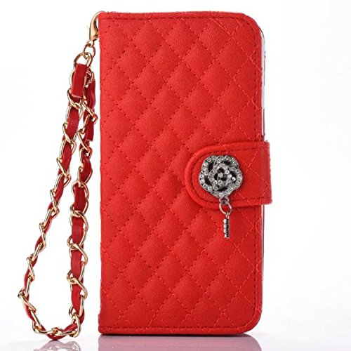 Organizer Louis Zippy Vuitton (New Leather Flip Cover Wallet Case ForElegant Ms. Phone Case Rose Metal Chain,Red,for iphone 7 8)
