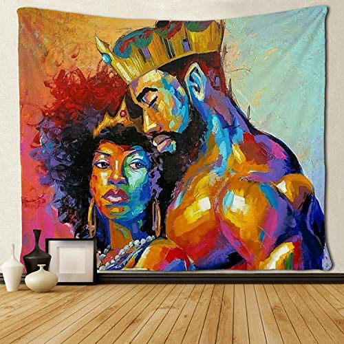 SARA NELL Tapestry African American Lovers Couple Oil Painting Tapestries Wall Art Hippie Bedroom Living Room Dorm Wall Hanging Throw Bedspread 50