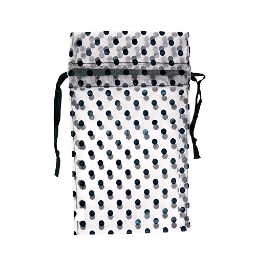 - Black and White Polka Dot Organza Gift Pouch (Package of 12) (4