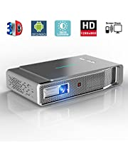 LED Video Projector, 1280x800 3D DLP Link Android Smart Projector, 3800 Lumens, Support 1080P Full HD, Wireless Screen Share for iPhone iPad Android, HDMI/USB/TF,Bluetooth, Keystone Correction (V5)