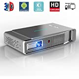 Video Projector, 1280x800 3D DLP Link Android Smart, 3800 Lumens, Support 1080P Full HD, Wireless Screen Share for iPhone iPad Android, HDMI/USB/TF Keystone Correction Free 3D Glasses V5