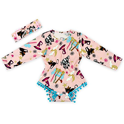 Anbaby Baby Halloween Climbing Clothes Cute Bodysuit Long Sleeve Romper with Headband S Pink