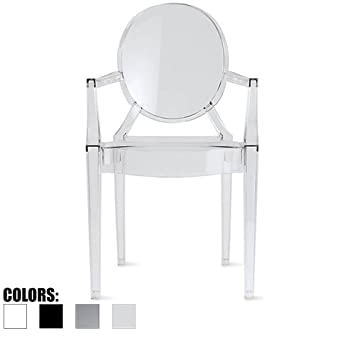 2xhome U2013 Clear   Modern Contemporary Louis XIV Dining Chair Armchair Ghost  Style Ghost Chair With