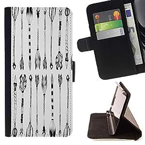 Momo Phone Case / Flip Funda de Cuero Case Cover - Negro Dibujo Indio Blanco - Samsung Galaxy J3 GSM-J300