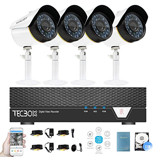 Surveillance Video System 4 Channel 2TB DVR and 4 CCTV Cameras Weatherproof Security Camera System Remote Access Video Camera Kit