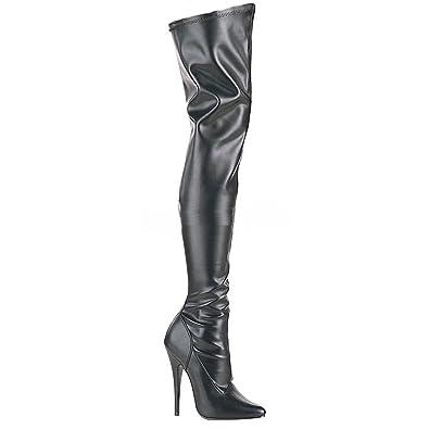 9e4ded8e7b0e28 Higher-Heels PleaserUSA Overknee-Stiefel Domina-3000 mattschwarz Gr. 37