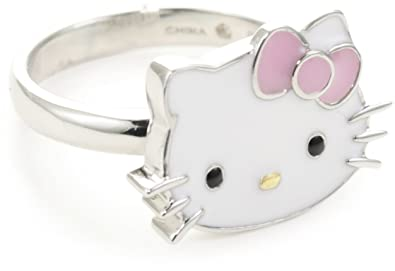 89513ad73 Image Unavailable. Image not available for. Color: Hello Kitty Pink Enamel  Bow and Sterling Silver ...