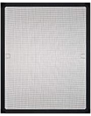 PALMAT Vliegenhor Aluminium raamkozijnen met accessoireset voor vaste maten Insectenpreventie Geen boren vereist Snelle montage (75 x 75 cm, zwart)