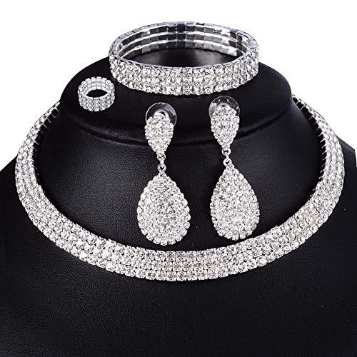 eMeition Austrian Rhinestone Bridal Crystal Choker Collar 3 Row Necklaces Earrings Bracelets Rings Jewelry Sets Women Girls Wedding Prom Elastic Cord Stretch Bracelet - Earrings 2 Necklace Bracelets