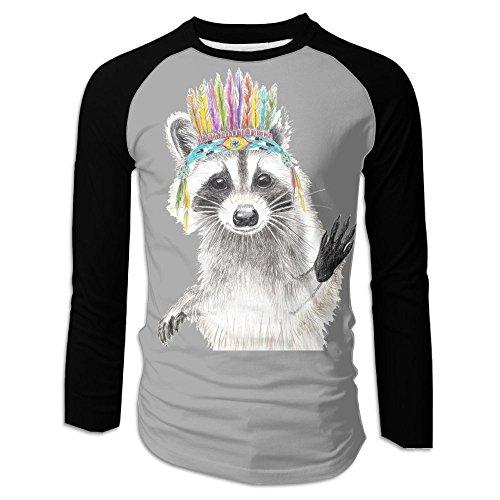 India Prepster Raccoon Men's Raglan Baseball T-Shirts Long Sleeve Baseball Tees - Versace Clothing India