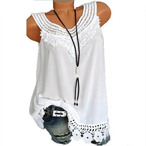 Price comparison product image 2018 Women O-Neck Sleeveless Pure Color Lace Plus Size Vest Tops Loose T-Shirt Blouse by - NEWONESUN (3X-Large, White)