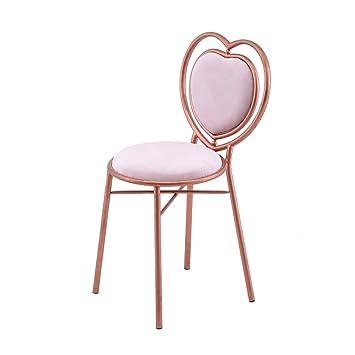 SZQ Iron Art Armchair, Heart Shaped Armchair Bedroom Makeup Chair  Individual Restaurant Bar Stool Dining