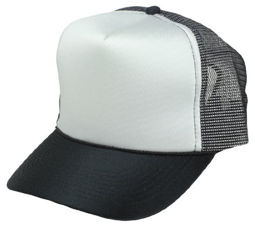 Blank Hat Mesh Cap in Black and White - Mesh Back Cap Blank