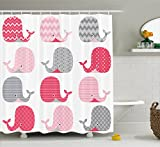 Whale Decor Shower Curtain by Ambesonne, Cute Patterned Whales Design Perfect for Baby and Toddler Rooms, Fabric Bathroom Decor Set with Hooks, 75 Inches Long, Pink Grey and Light Pink