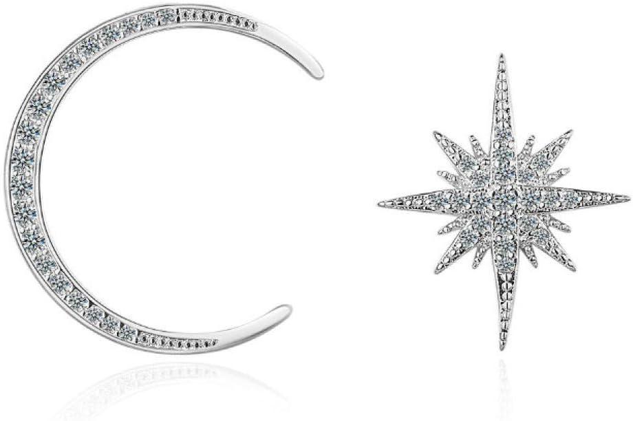 NOBRAND Aretes de Plata 925 Plata esterlina asimétrica Estrella Luna Cristal Pendiente para Mujer joyería de Plata