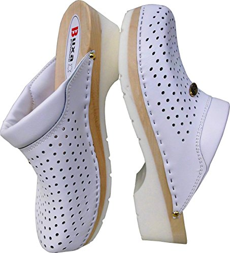 Schweden HOLZ CLOGS - Pantolette Gr.42, 43, 44, 45, 46 **Weiss**, Echt Leder- (Made in Poland 18.6.14.16)