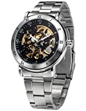 AMPM24 Men's Steampunk Skeleton Self-winding Auto Mechanical Stainless Man Watch Gift PMW211