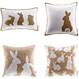 Ashler Throw Pillow Cover Set of 4 Beige and White Happy Easter Rabbits 18 x 18 Inch Pillow Case