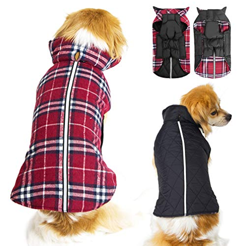 Dog Jackets and Sweater for Extra Small Dogs and Cats - Plaid Waterproof Reflective Reversible Dog Vest Winter Coats - Warm Pet Clothing for Cold Weather, Red XS]()