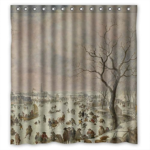 - MaSoyy Art Painting Jan Griffier I - Winter Pleasures Polyester Bathroom Curtains Width X Height / 72 X 72 Inches / W H 180 By 180 Cm For Girls Him Father Relatives Wife. Rust Proof. Fab