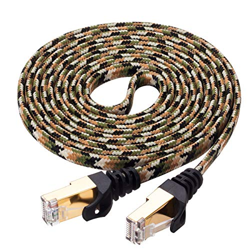 Cat 7 Ethernet Cable 15 Feet,Ruaeoda RJ45 Connectors Slim Long Braide Network Internet Cable for Router,printer,Ethernet Switch, Modem,Coupler,PC, Mac, Laptop, PS2, PS3, PS4,and XBox-10 Gigabit 600Mhz (Best Ethernet Cable For Ps3)