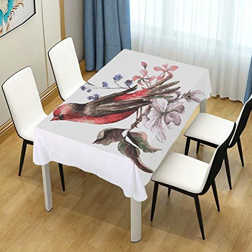 Mr.Lucien Cute Bird Flower Branch Pattern Tablecloth Watercolor