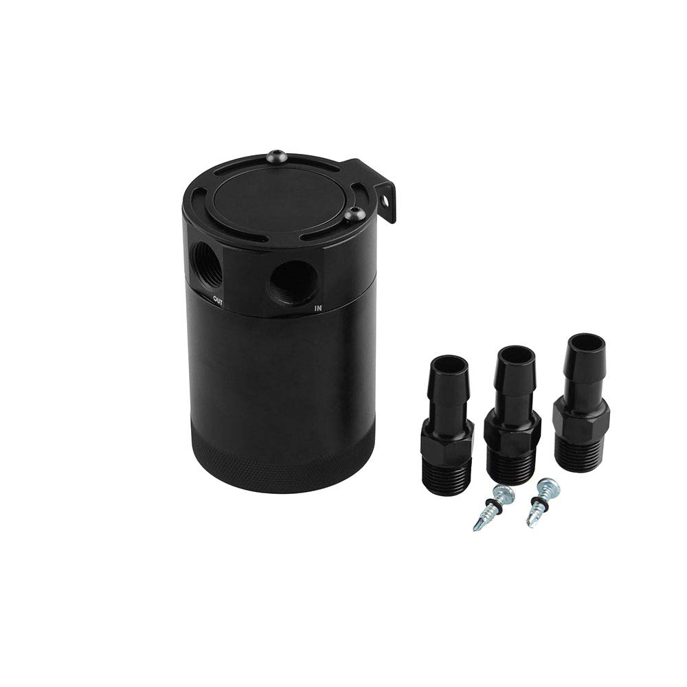 Sporacingrts Compact Baffled 3-Port Oil Catch Can 2 Inlets 1 Outlet Blue