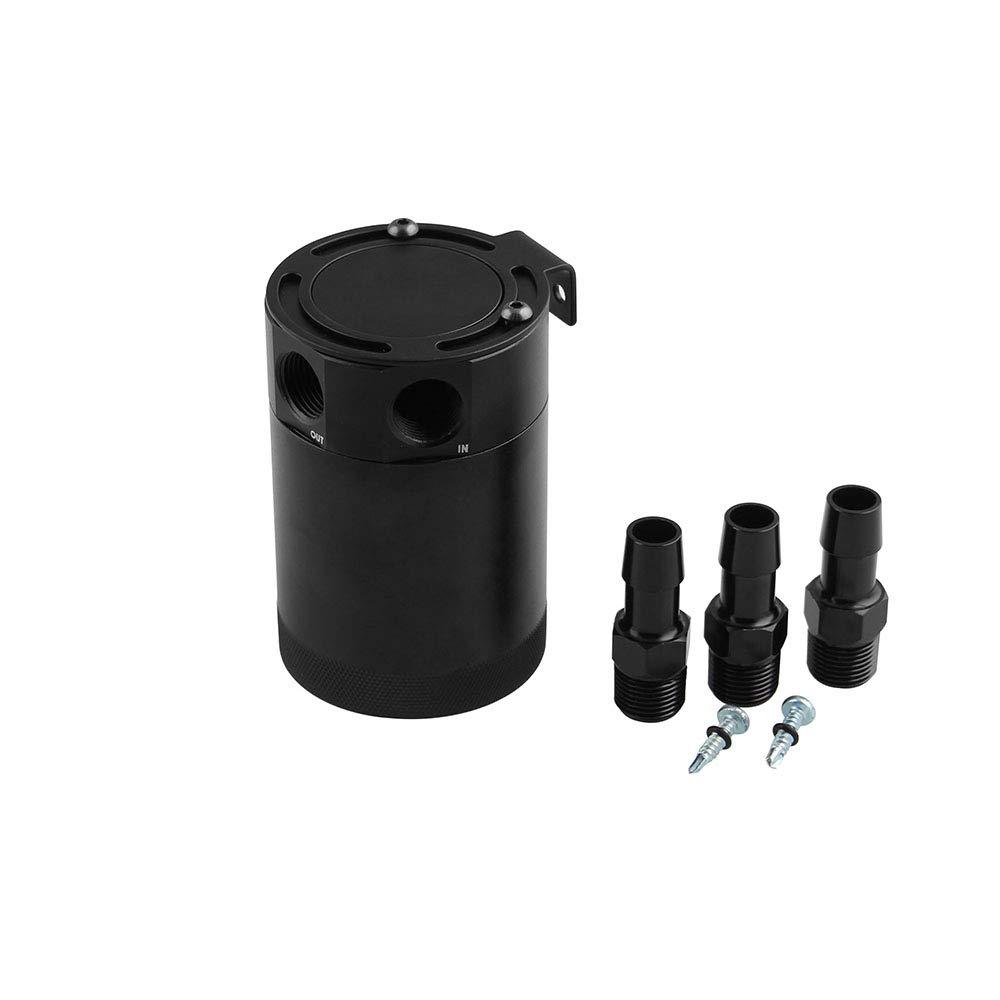 Sporacingrts Universal 3-Port Oil Catch Can Reservoir Tank Black, 2 Inlet 1 Outlet