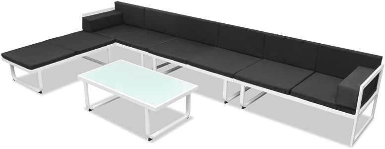 xings huoon Line Jardín Jardín de sofá Cama de 17 Piezas. textileno Aluminio Negro Blanco Muebles de jardín Set: Amazon.es: Jardín