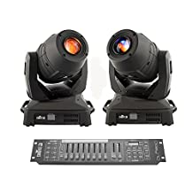 2 x Chauvet DJ Intimidator Spot 455Z IRC 180W LED Moving Head Spot and Obey 10 DMX Controller Bundle
