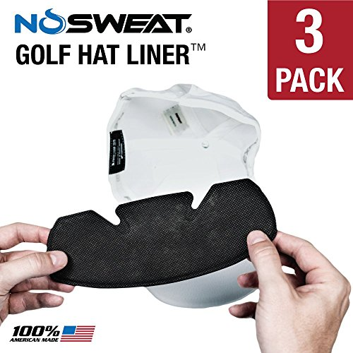 No Sweat Golf Hat Liner & Cap Protection - Prevent Hat Stains / Sweat Rings, Moisture Wicking, Headband, Sweatband, Hat Saver & Protection, Sweat Prevention, Cooling Towel Effect (3 Pack) (Golfing Gifts For Men)