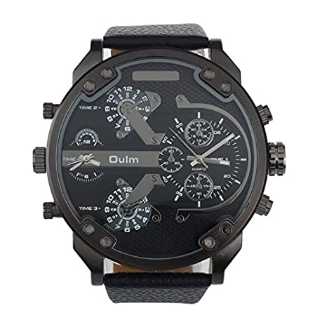 Amazon.com : Quaanti Men Wrist Watches Luxury Military Army Dual Time Quartz Large Dial Sports reloj Mujer Hombre Good-Looking (Black) : Sports & Outdoors