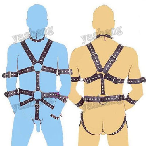 Brand:unbrandedQuality PU Leather Men's Body Harness Restraint set Adjustable Straps Male