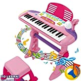 Electronic 37 Key Keyboard Musical Light Up Piano Mic Stand And Stool Kids Childrens Toy Play Set (Girls Pink)