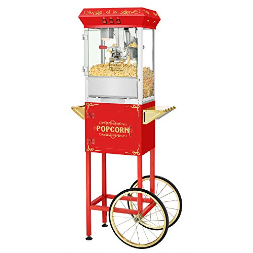 (Movie Night Popcorn Popper Machine With Cart-Makes Approx. 3 Gallons Per Batch- by Superior Popcorn Company- (8 oz., Red))