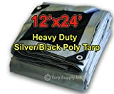 12'x24' Heavy Duty 14 By 14 Cross Weave 10 Mil Silver/Black Poly Tarp with Grommets Approx Every 24 Inches All Around, Corner Solid Plastic Bar Reinforcement for Extra Strength