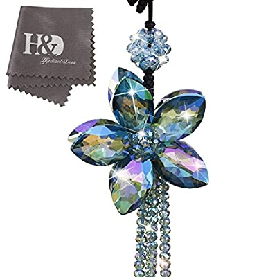 H&D Crystal Flower Interior Accessories Car Charms Pendants For Auto Rear View Mirror Hanging Decoration