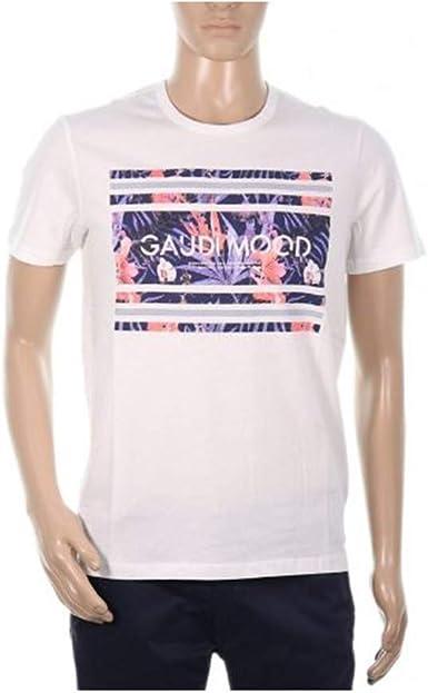 GAUDI JEANS T-Shirt Hombre Camisa Blanca Cuello Redondo 011BU64032-2100: Amazon.es: Ropa y accesorios